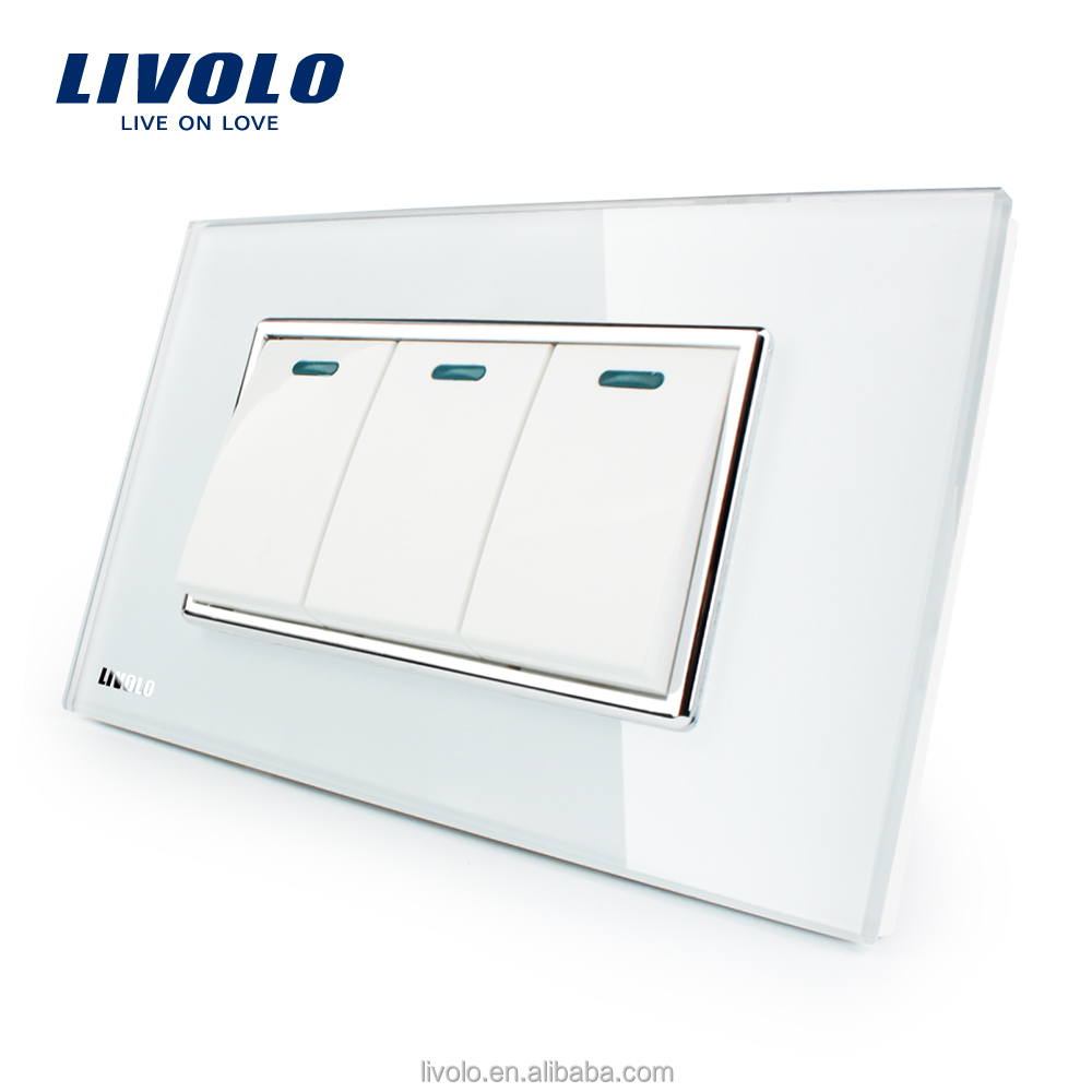Manufacturer Livolo Luxury White Crystal Glass Panel 3 Gang 2 Way Push Button Home Wall Switch VL-C3K3S-81