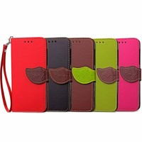 Leaf Design Wallet Leather Case for iPhone 7 Plus Flip Stand Design Phone Back Cover Wallet with Card Slot Book Style