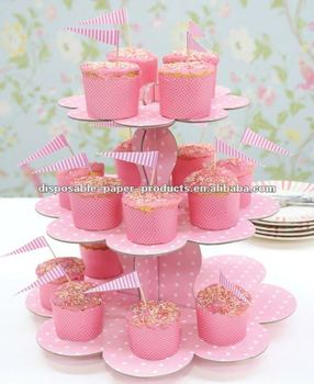 3 tier pink polka dot spotty Cardboard cupcake stand Cupcake Party Stand Cake Holder Cake Displaycake birthday party celebration