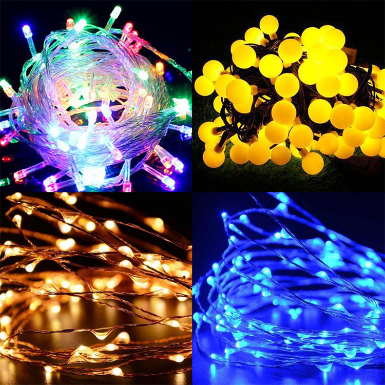 Waterproof Outdoor or Indoor String Lights Battery Operated Christmas lighting Decorative rgb led curtain lights
