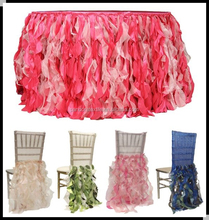Fancy Ruffled table skirt and chair covers for weddings