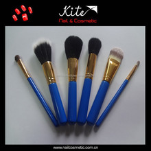 Makeup Brushes Blue Color handmade wooden handle 6PCS cosmetic artist kit
