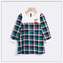 Frock Design For Baby Girl Party Dress Long Sleeve Plaid Kids Garments