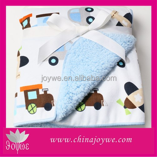 Lovely Christmas Printed Micro Mink Sherpa Baby Blanket