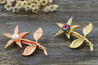 2016 new flower rose gold metal hair clips