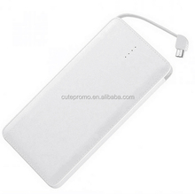 High Quality Ultra Slim/Thin Colorful Plastic Power Bank 8000/10000mah with Built-in Cable