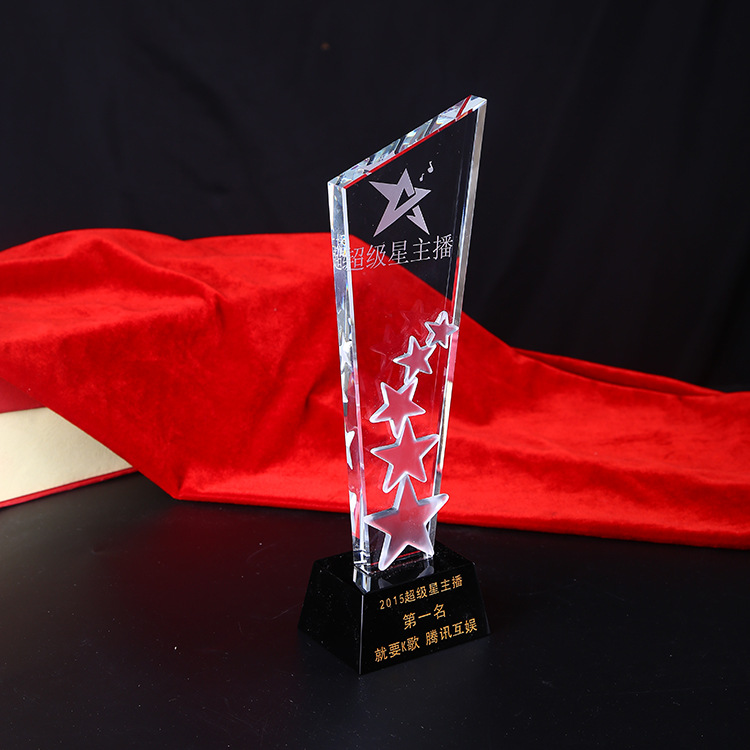 Creative Crystal Star Award Trophy with black base