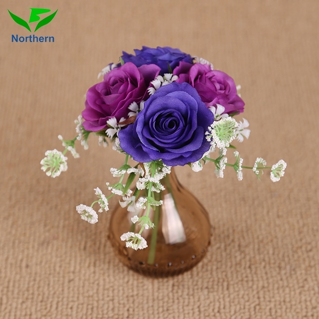 4 heads wedding fabric factory supply blue plastic rose stem plants sale