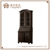 Vintage black casement hutch solid wood storage cabinet
