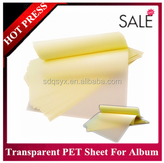 PET / PVC hot melt photo album sheet , adhesive album inner sheets