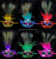 High Quality PVC carnival feather party mask Mardi gras peacock feather masks