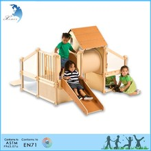 Direct selling Nursery School Kids Educational Playground Train Wooden Toy Cubby House
