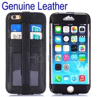 For Apple iPhones Compatible Genuine leather Material Back cover wallet case for apple iphone 6 with Elastic belt and Card Slots