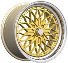 17 inch gold alloy wheel rims with rivets decoration, aftermarket car alloy wheels sport rim for racing car, 4x100 wheel rim