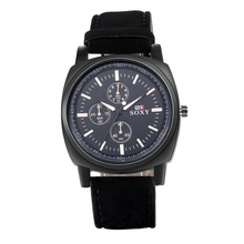 SJWH0051A SJ New Design Fashion Men Watch Wristwatch Black Leather Watch Strap Men Big Dial Business Quartz Watch