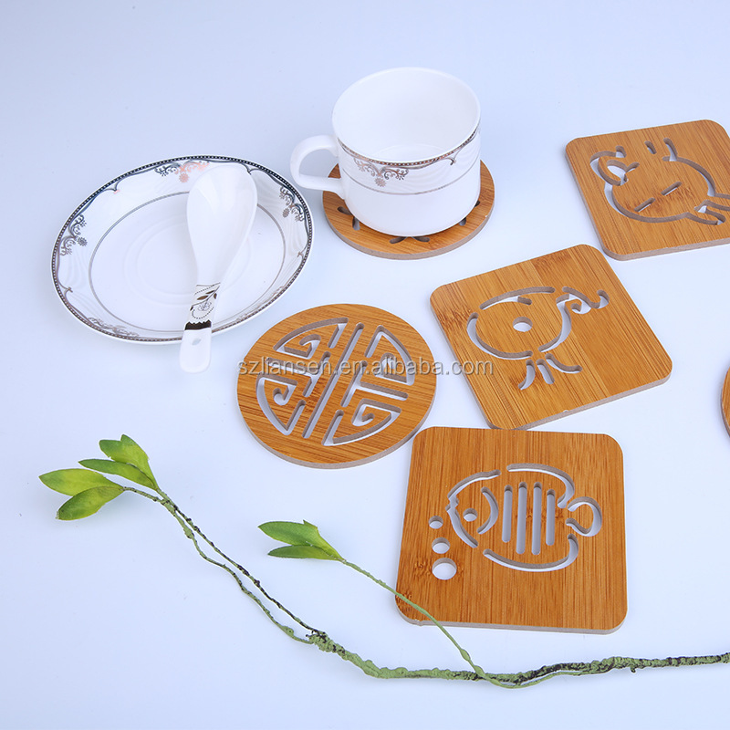 LIANSEN Quality Shaped Fish Rabbit Square Round Bamboo Dining Table Coasters for Ceramic disc mats