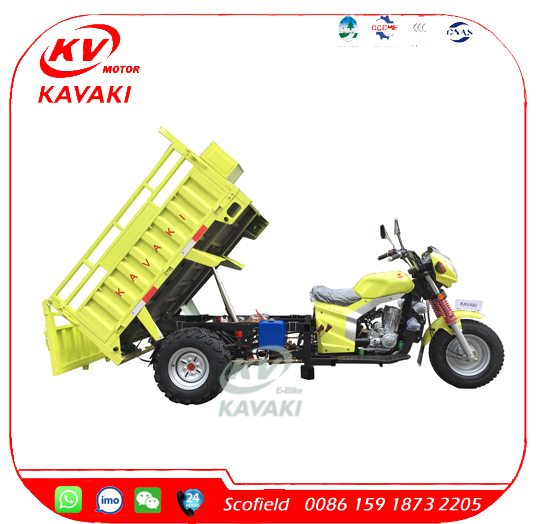 KAVAKI 3000kg Motorized Self-Discharging Heavy Load Double Rear Wheel Cargo Tricycle/Three Wheel Motorcycle