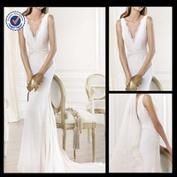 Promotion 2014 New Luxury Elegant Sexy Lace V-neck A-line With Sweep Train Bridal Wedding Dress WA00136