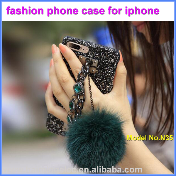 Factory supply fur ball lady phone case for iphone model N35