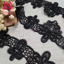 Best Selling cheap black embroidered tulle lace fabric material