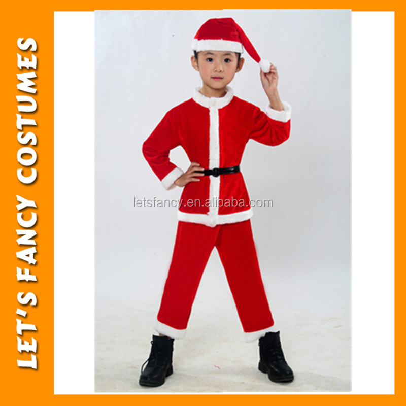 PGCC-0610 Luxury Plush High Quality children Santa Claus Christmas Eve Santa Costume for boys