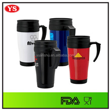 Personalized 14 oz Plastic thermal coffee tea cup with handle