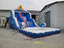 Commercial CE residential water slide inflatable water slide with pool
