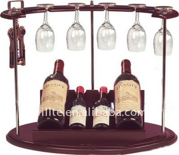 double wine bottle display
