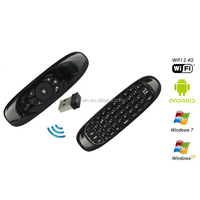 2.4G C120 MIC Speaker 6 axes Gyroscope Wireless Keyboard with Air Fly Mouse for PC Smart Android TV Box SKYPE Gaming Keyboards
