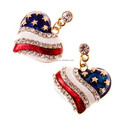 Patriotic American Flag Dazzling Crystals 3D Heart Charm Earrings