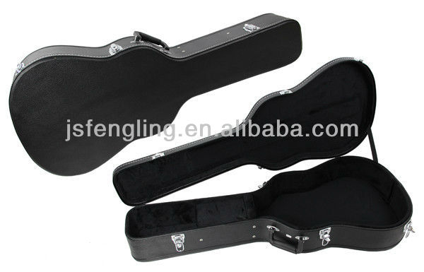 high quality wooden case for acoustic and classic guitar(black)