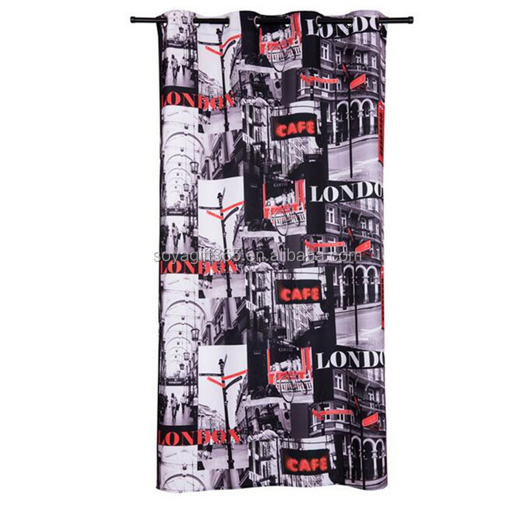 Novelty House And English Word Pattern For Living Room Shade Cloth Custom Window Curtain