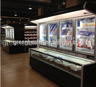 Supermarket twin temperature freezer and refrigerator container