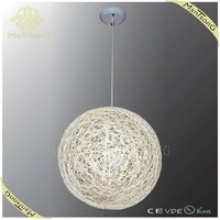 2015 best selling big white round ball hanging rattan pendant lamp