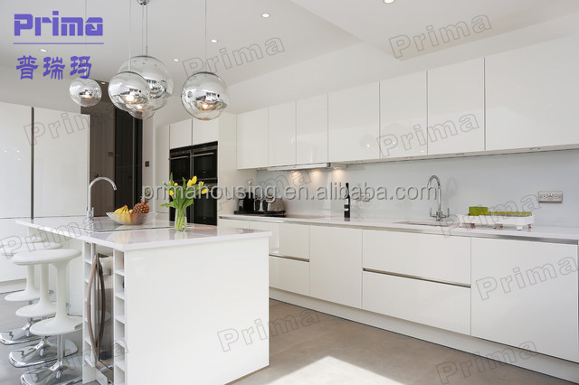 White luxury modern kitchen cabinet designs modern high gloss kitchen furniture