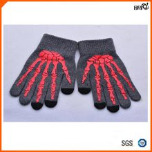 Winter Thermal Woolen Halloween Finger Bones Printing Screen Touch Gloves Large Size Smartphone Glove for European Adult Unisex