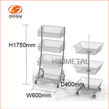 Supermarket display rack Wire basket &dump bin with casters