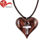 Classic best selling wooden Catholic crosses and hearts cow carvings sculpture