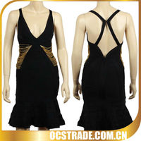 2013 newest black back cross halter sexy cocktail dress