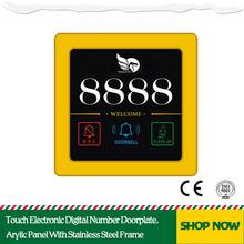 Touch Electronic Digital Number Doorplate,86*86 Size Arylic Panel With Stainless Steel Frame Hotel Corridor Sign