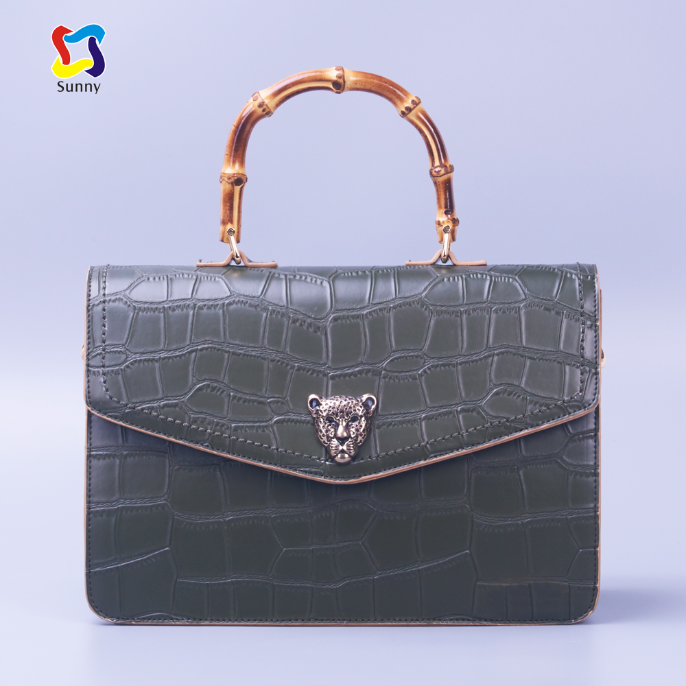 Lady fashion desinger luxury brands bags bamboo handle crocodile PU handbag