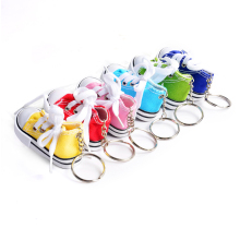 Novelty sneaker tennis canvas shoe keychain, mini 3D decorative glitter running fabric sports plimsolls key chain ring pendants