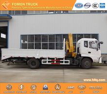 DONGFENG 4X2 190hp Euro3 new cab 8tons hydraulic folding telesonic arms crane with cargo truck