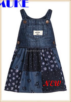 2016 New Model Denim Lovely Baggy Overall Dress Jeans Pants For Kid's -OEM Service BIB With Print Polka Dots Girls Jean Skirt