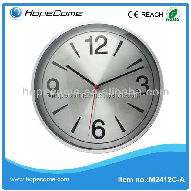 12 Inch Large Modern Aluminum Wall Clock For School
