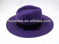 2015 popular Wool felt fedora purple hat with black bow trims
