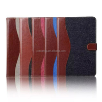Jeans flip leather case wallet case for ipad mini 4, Stand leather case for ipad mini 4