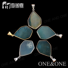 Alibaba Website Hexagon Druzy Agate Pendant <strong>Silver</strong>/gold Edge Mixcolor Charm Jewelry Wholesale