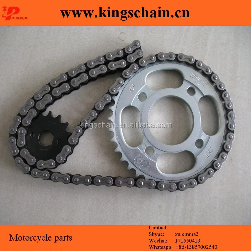 Motorcycle chain and sprocket set, motorcycle parts