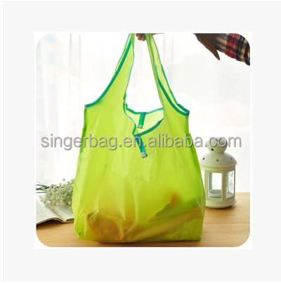 Candy color folding polyester shopping tote bag